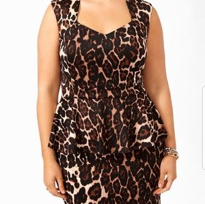 Forever 21 Leopard Peplum Dress - Worn Once
